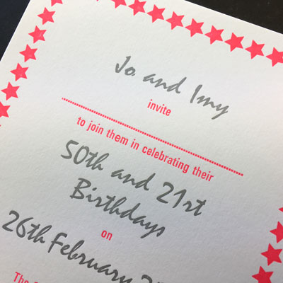 Letterpress printed birthday invitation
