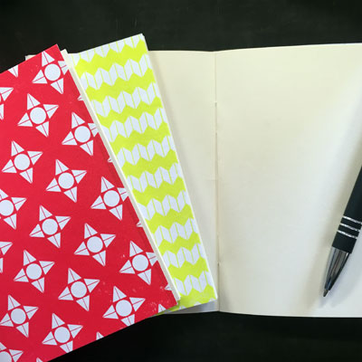 Simple Notebook Making - pattern printed notebooks